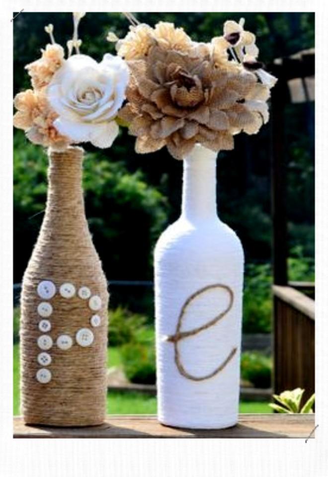 bouteille décorée avec de la ficelle