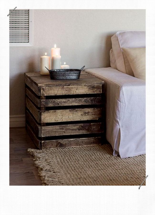 caisse en bois Bout de canapé