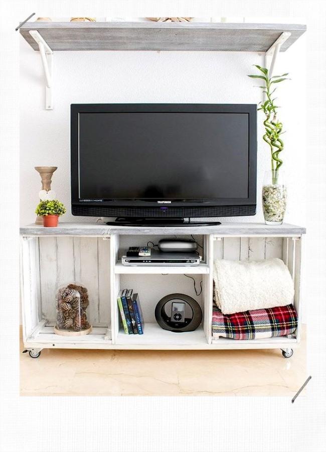caisse en bois meuble télé
