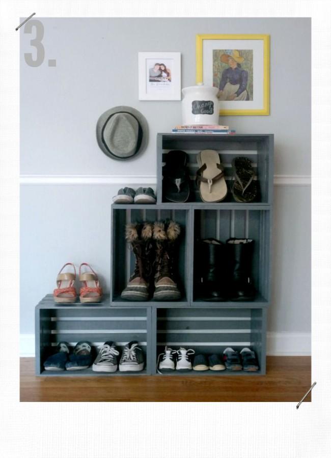 caisse en bois meuble à chaussures