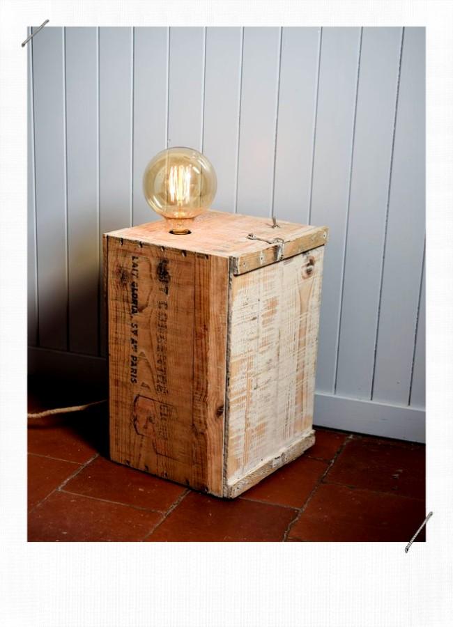 luminaire caisse en bois