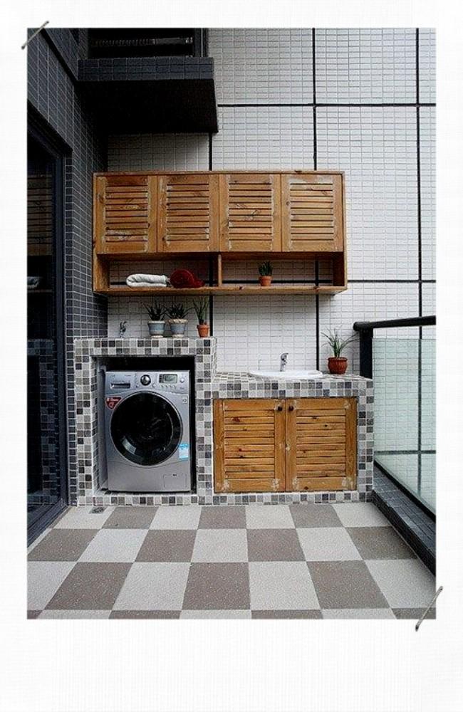 Machine à laver sur balcon