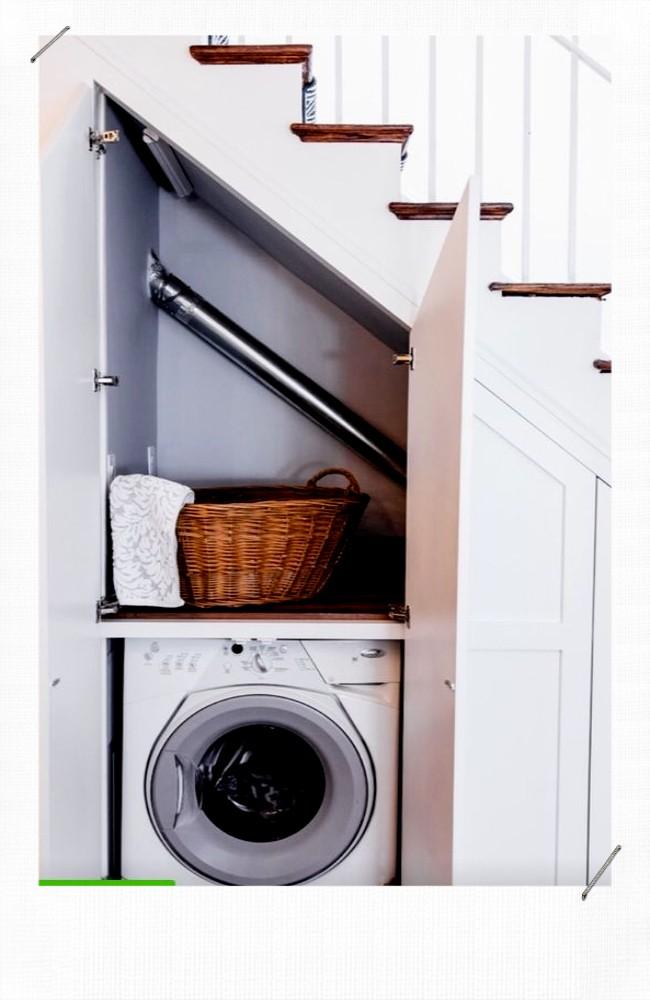 Machine à laver dans un placard
