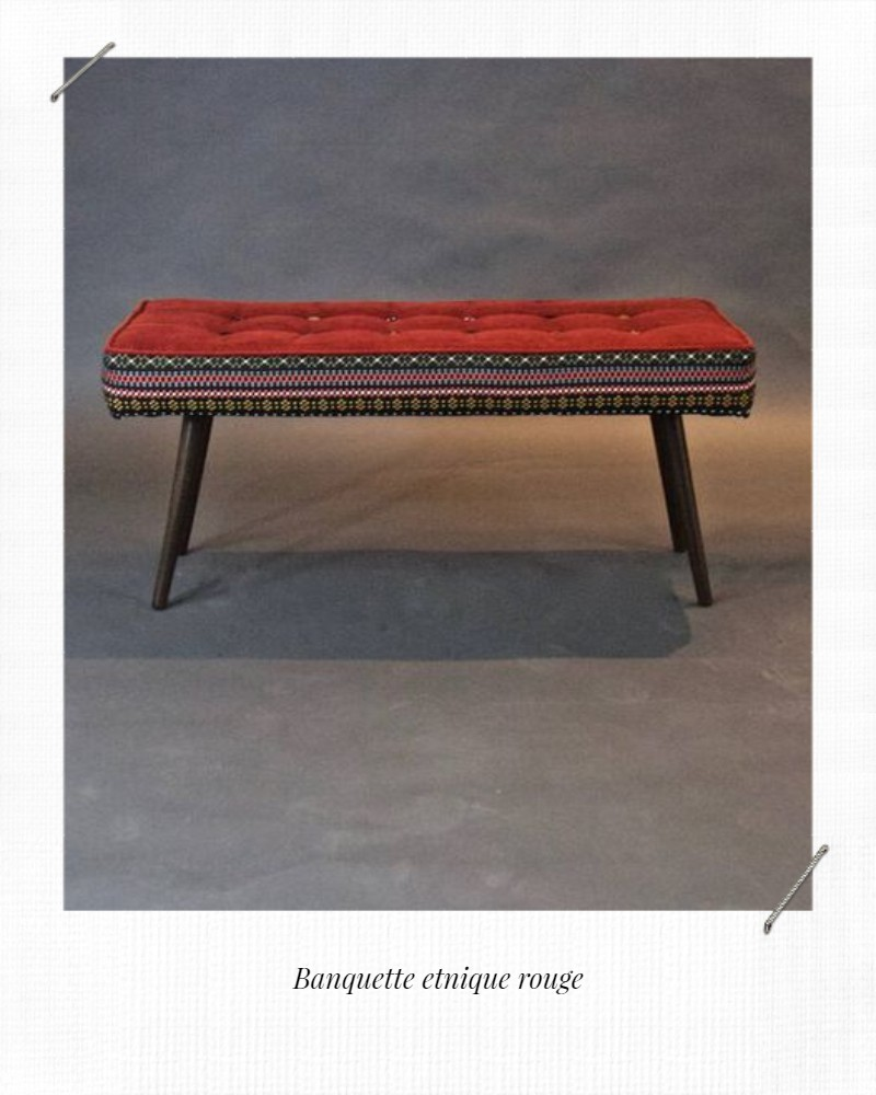 assise ethnique rouge flamme