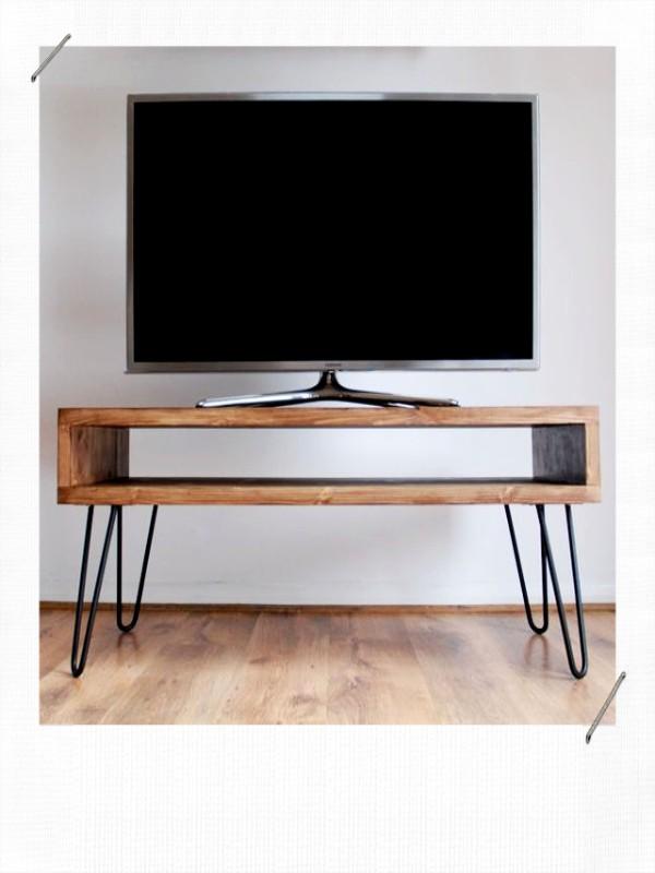Meuble télé DIY caisson pied épingle